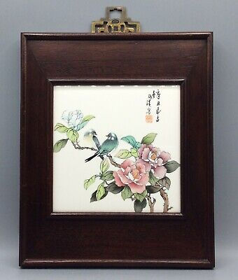 Chinese Hand Painted Porcelain Plaque Depicting Two Birds And Calligraphy