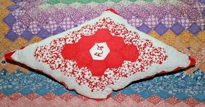 NEW Diamond Throw Pillow Made From Vintage 1930's Handmade Quilt FG1120-A