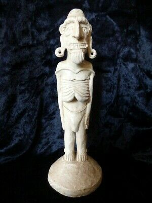 Easter Island Old Moai Kavakava Pottery Sculpture - Serial Numbered