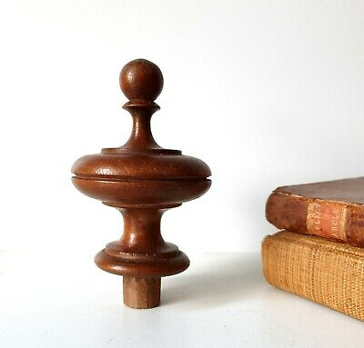 Antique salvaged wood finial Wooden topper Furniture restoration project 3.98""