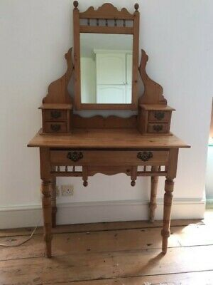 Antique Victorian stripped pine dressing table with mirror and five drawers