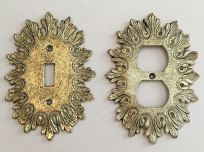 Vintage Ornate Gold Tone Outlet And Light Switch Covers