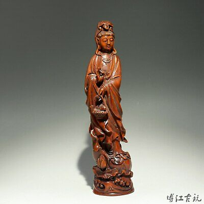 Collectable China Old Boxwood Hand-Carved Exorcism Lotus Guan-Yin Buddha Statue