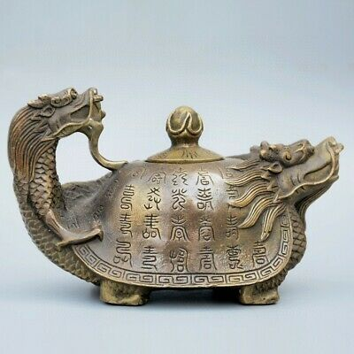 Collectable China Old Bronze Hand-Carved Myth Dragon Turtle Bring Luck Tea Pot