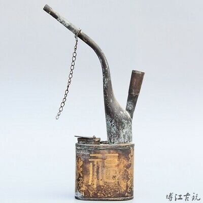 Collectable China Old Bronze Hand Carve Bloomy Flower Delicate Luck Tobacco Pipe