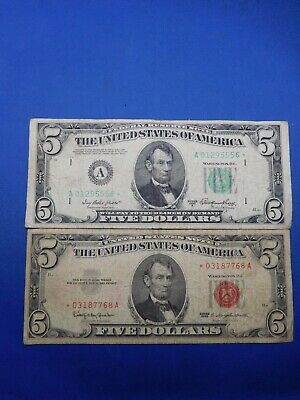 1963 &1950 A US $5 Small Size United States & Federal Reserve Star Notes