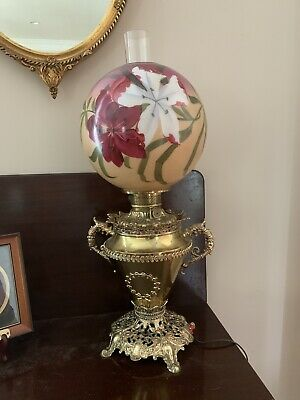 Antique Bradley And Hubbard Oil Lamp Electrified GWTW STUNNING!