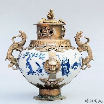 Collectable Old Miao Silver Armour Porcelain Carve Myth Dragon & Monkey Censer