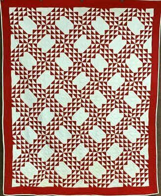 Americana Red! c 1900s Ocean Wave QUILT Vintage Tiny Triangles