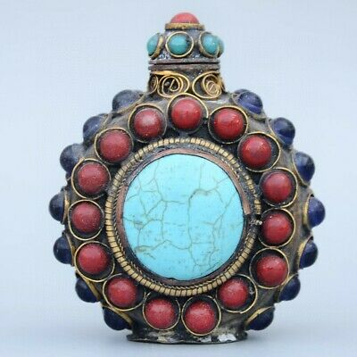 Collect China Old Bronze Armour Agate & Turquoise Hand Carve Unique Snuff Bottle