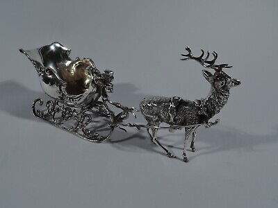 Antique Sleigh - Rococo Revival Snow Coach Carriage - German 800 Silver
