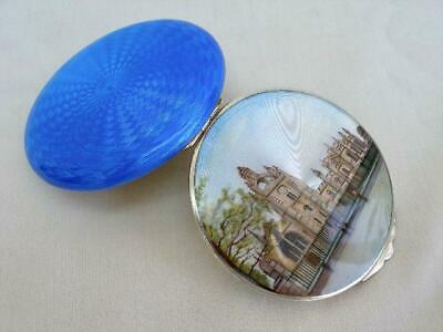 Outstanding Antique Guilloche Enamel Hallmarked Silver Pictorial Compact.