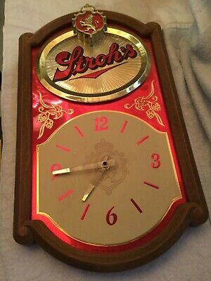 Vintage  Stroh's Beer Clock Battery Operated