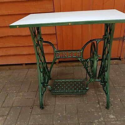 Old Vintage Singer Treadle Sewing Machine Cast Iron Table Base, with enamel top.