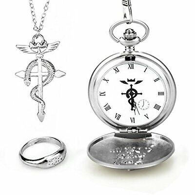 WIOR Full Metal Alchemist Pocket Watch Necklace Ring Edward Elric Anime Cosplay