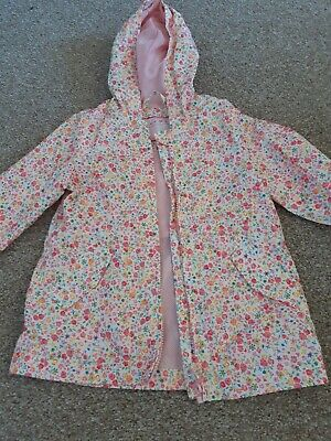 Girls Lightweight Summer Raincoat Size 3-4 Years Pink Flowers Nutmeg