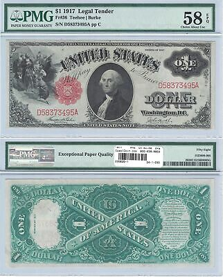 "1917 $1 Legal Tender ""Sawbuck"" Fr 36 PMG Choice About Uncirculated-58 EPQ"