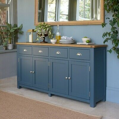Westcote Blue Extra Large Sideboard, Painted Finish, Two Tone Painted, Fully Ass