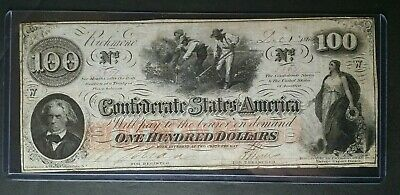 1862 $100 Confederate Note; C.S.A. Currency From Early Civil War Times