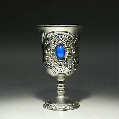 Collect Old Miao Silver Inlay Zircon Carve Delicate Noble Flower Rattan Wine Cup