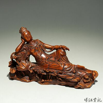 Collectable China Antique Boxwood Hand-Carved Delicate Sleep Guan-Yin Statue
