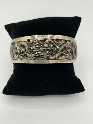 Antique Chinese Export Solid Silver Bracelet Figures & Dragons