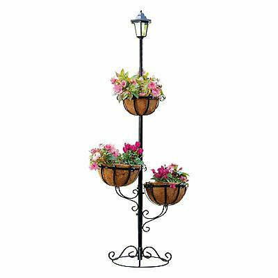 Outdoor Garden 3 Tier Baskets Hanging Flower Planter with Solar Powered Lamp
