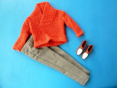 Vintage Ken Grey Slacks, Sweater & Brown & White Shoes From 1960'S
