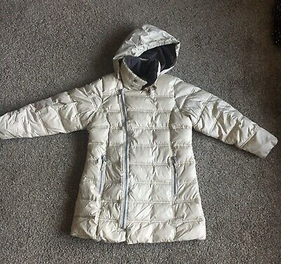 Girls Age 7-8 Cream Hooded Padded Coat From Next