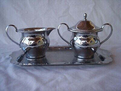 Vintage FARBERWARE Stainless Steel  Creamer, Sugar Bowl with Lid, and Tray