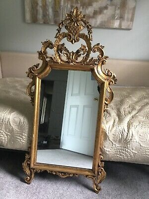 Vintage Ornate Pino L. DeLuca Inc Carved Wood Gold Gilt Wall Mirror