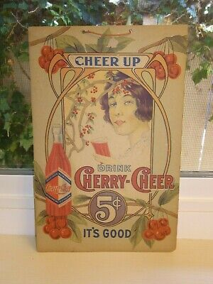 Vintage Cheer Up Drink Cherry-Cheer 5 Cents It's Good Cardboard Sign With String