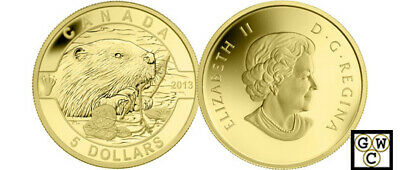 2013 Gold 'Beaver - O Canada' Proof $5 Gold Coin .9999 Fine (13152) (NT)