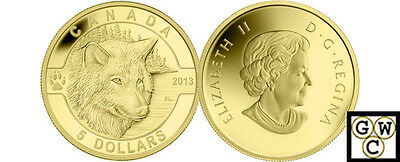 2013 Gold 'Wolf - O Canada' Proof $5 Gold Coin .9999 Fine (13155) (NT)