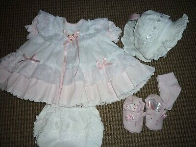 Baby Girls Dress Full & Frilly,  Frilly Pants, Bonnet, Shoes, Socks age 3mnths