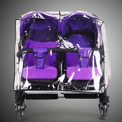Universal Baby Kid Stroller Double Pushchair Twins Pram Clear Rain Cover Buggy