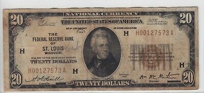 1929 Federal Reserve Bank of St. Louis, MO $20 Note FR#1870-H H00127573A