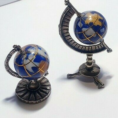 2 x Vintage Solid Silver Italian made miniatures of Mini Globes Stamped.
