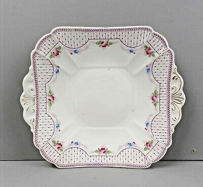 ANTIQUE 19th Century SHELLEY GARLANDS 10968 SQUARE CAKE PLATE Victorian