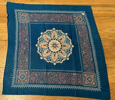 RARE Blue Salmon Motif  Vintage Handkerchief Bandanna Collection Find