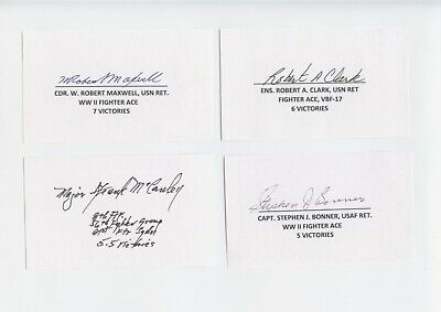 Wwii-Korea Fighter Aces Signed/Autographed Index Card Lot (6)  Maxwell,Clark