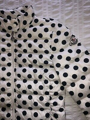 Moncler 'Dorine' White Polka Dot Jacket Girls 11 Years Petite Women's UK 4 - 6