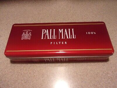 Empty Vintage Pall Mall Filter Tobacco 100's Red Storage Tin