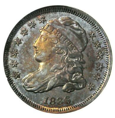 1836 Capped Bust Dime 10C - ANACS XF45 Details (EF45) - Rare Certified Coin!