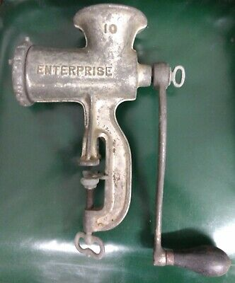 Antique Enterprise Tinned Meat Grinder Chopper Cast Iron No. 10