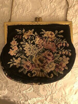 Vintage Rose Floral  Small Petit Point Needlepoint Purse