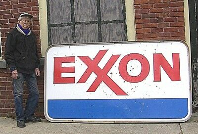 Large 46.5 inch x 84 inch Double Sided Exxon Gas Station Sign.