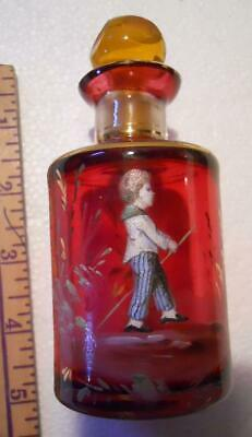 Exceptional Example Mary Gregory Type Walking Boy Red Glass Bottle With Stopper