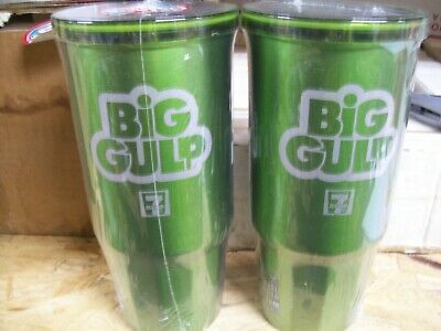 7 Eleven (2 Total) Easy Go Stainless Outer Foam Insulated Big Gulp Cup 24Oz