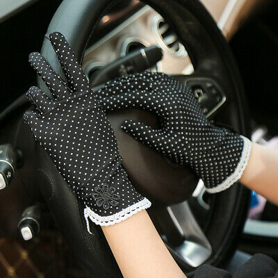 Women Sunscreen Gloves Lace Dots Summer Anti-UV Short Driving Glove Elastic Thin